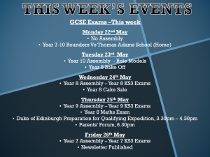 Weekly Bulletin – Week Commencing Monday 22nd May 2017