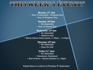 Weekly Bulletin -Week Commnecing: Monday 17th July 2017